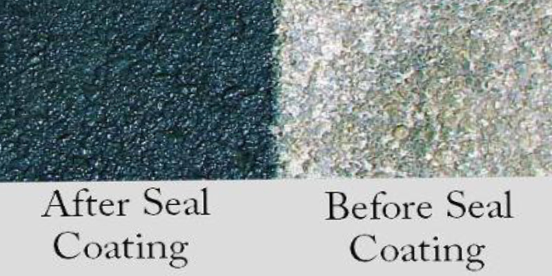 seal coating example - diagonal closup of one side sealed and the other with no sealing
