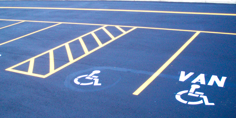ADA handicap parking space and van markings