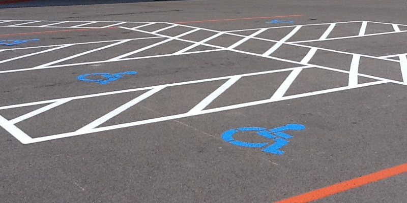Multiple handicap parking spaces with appropriate ada markings