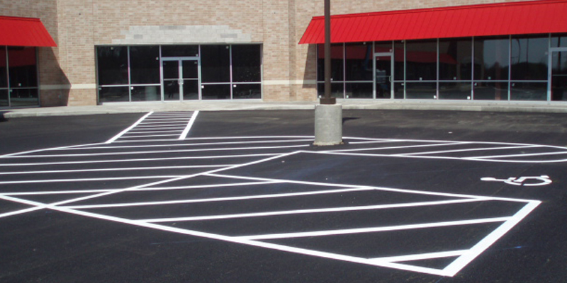 parking lot with lines and handicap markings