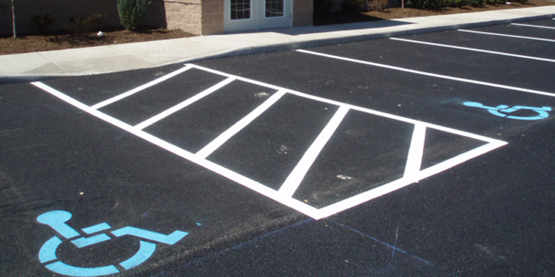 parking lot lines are white and blue ada handicap markings