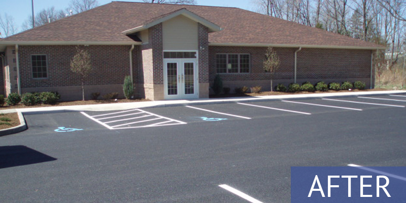 business with new parking lot markings - after shot