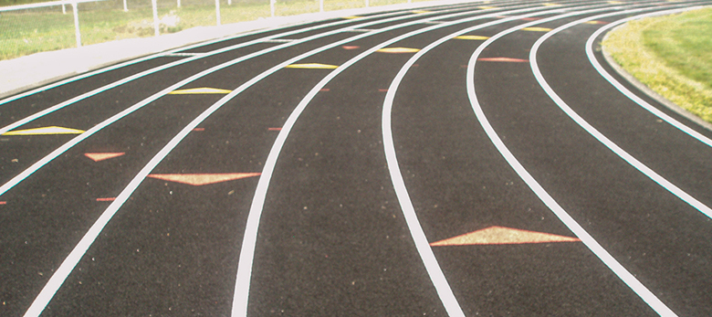 School track markings - this is the bend of the track