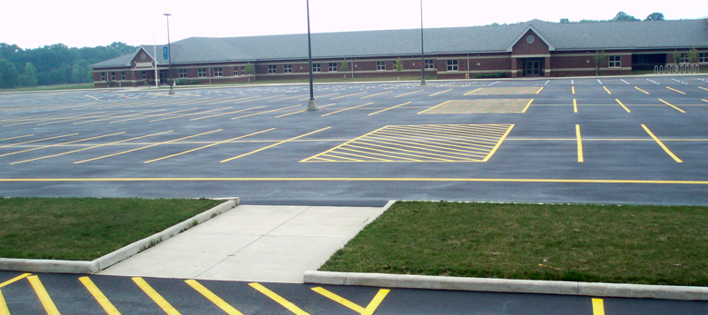 School parking lot with new markings