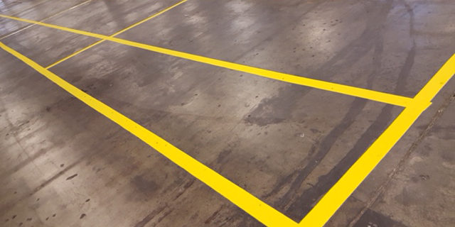Indoor warehouse markings yellow paint