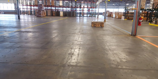 warehouse floor that needs markings
