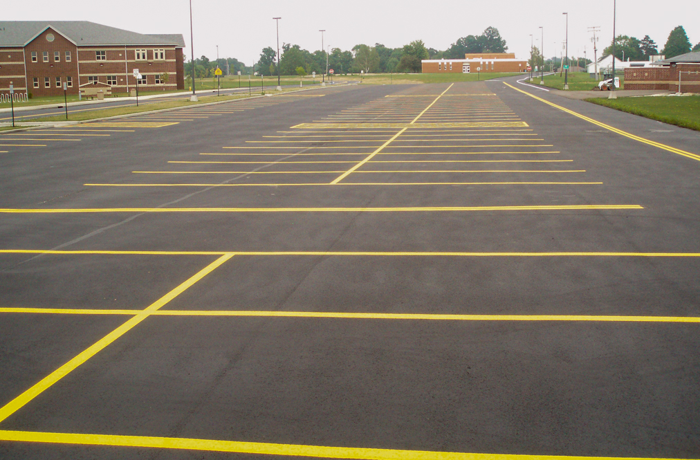 School parking lot with yellow markings