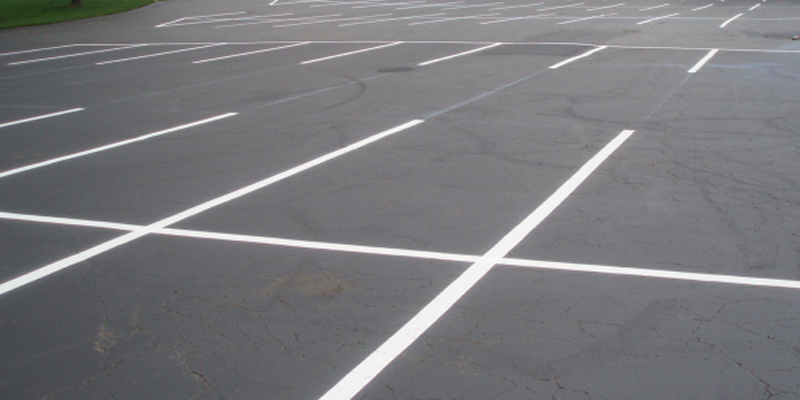 new construction with white parking lot markings