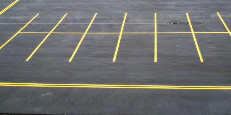 tight shot of parking lot lines