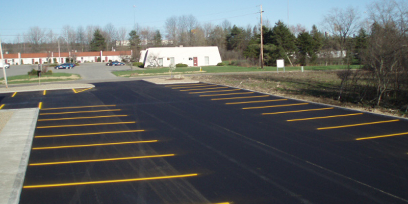new construction parking lines at a local business